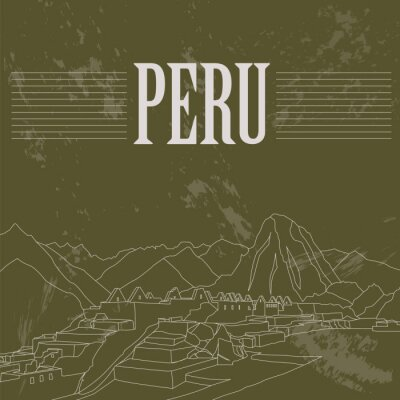 Nálepka památek Peru. Retro stylu obrazu.