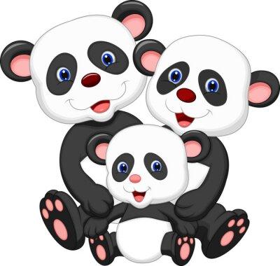 Nálepka Panda bear family cartoon