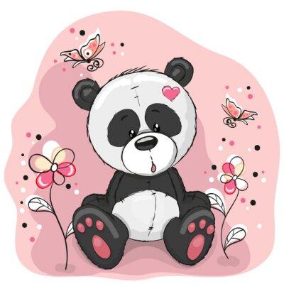 Nálepka Panda s květinami