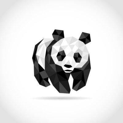 Nálepka panda v Polygon stylu. low poly design trojúhelníky