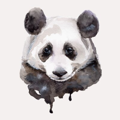 Nálepka Panda.Watercolor ilustrace Vektorové