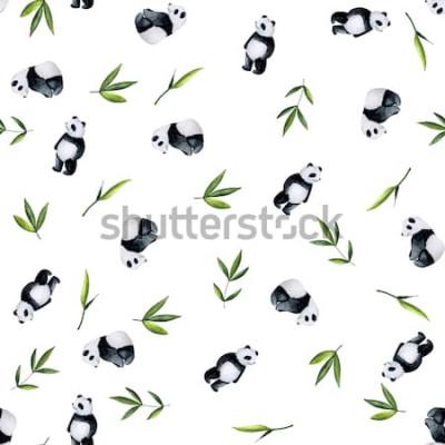 Nálepka Pandy a bambusové vzor na bílém pozadí. Ručně malované akvarel