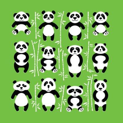 Nálepka Pandy nést bytu. Panda zvíře izolováno.