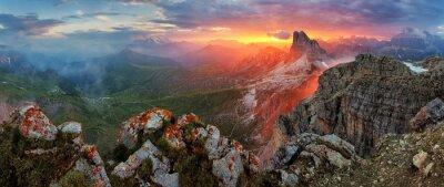Nálepka Panorama dramatic sunset in dolomites alp mountain from peak Nuv