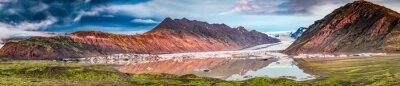 Nálepka Panorama krásné ledovce a jezera při východu slunce na Islandu