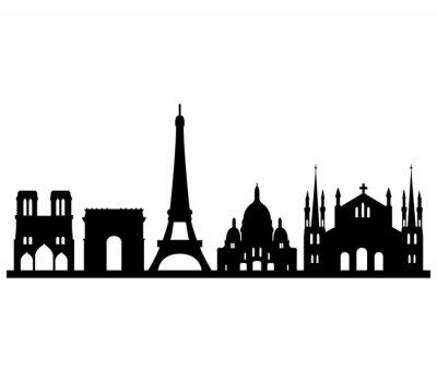 Nálepka panorama Parigi su sfondo bianco