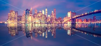 Nálepka Panorama z manhattanu midtown za soumraku s mrakodrapy, new york city