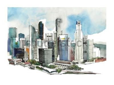 Nálepka Panoramatické Singapur město akvarel skica. Panorama silueta města. Ruční kreslení s architekturou. Barevné ilustrace obchodního města pro pohlednice, trička,