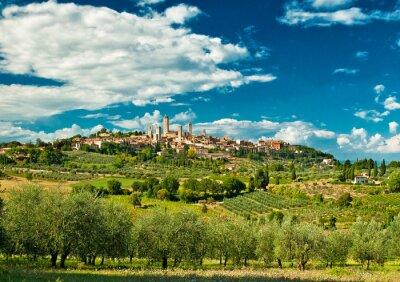 Nálepka Panoramatický pohled na San Gimignano s vinicemi, jedné z nejkrásnějších vesnic v Itálii