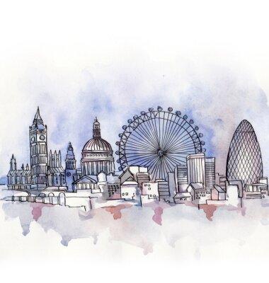 Nálepka panoramatický výhled na Londýn akvarel Evropské unie země na bílém pozadí