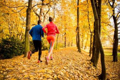 Nálepka Pár jogging v podzimní přírody