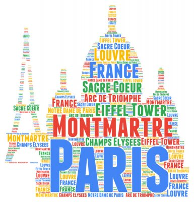 Nálepka Paris slovo mrak