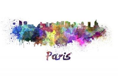 Nálepka Paris V2 panorama v akvarel