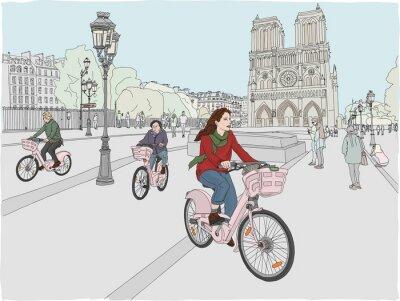 Nálepka Pařížské městské scény. Žena si užívá jízdu na kole městem, před slavnou katedrálou Notre Dame. Ručně tažené ilustrace.