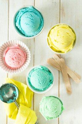 Nálepka Pastel ice cream in white bowls, wood background, copy space