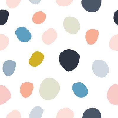 Nálepka Pastelová prášková růžová, námořnická modrá, losos, béžová, šedá akvarel ručně malovaná polka dot seamless pattern on white background. Akrylové inkoustové kruhy, konfety s kruhovou strukturou. Abstra