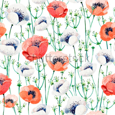 Nálepka Pattern consist of white and coral Anemones, white inflorescences on the green stems.