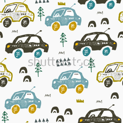 Nálepka Pattern with cars. Hand drawn autos on the road. Scandinavian style design. Decorative abstract art. Textile or fabric design