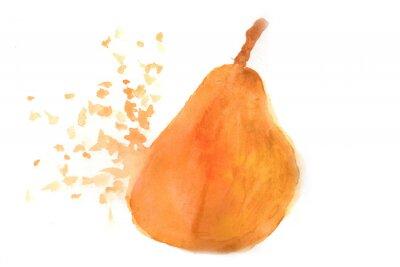 Nálepka Pear in watercolor.