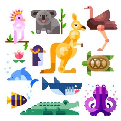 Nálepka Pěkný byt australských zvířat: Kakadu, klokan, papoušek, Koala, emu, pštros, delfín, tučňák, želva, žraloka, klaun ryby, krokodýl, chobotnice. Byt vektorové ilustrace set.
