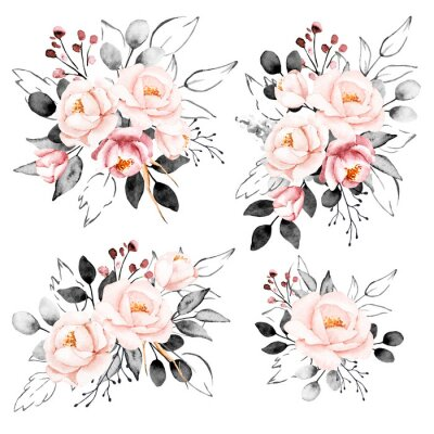 Nálepka Peonies, watercolor pink and gray flowers set. Floral summer vintage collection isolated on white background. Hand drawing. Perfectly for wedding, birthday, party, other greetings design.