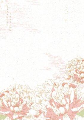 Nálepka Peony flower background vector. Japanese wave template. Save the date invitation card.