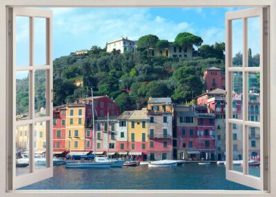 Nálepka pero okna výhled na staré Portofino, Itálie