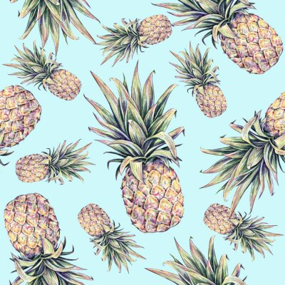 Nálepka Pineapples on a light blue background. Watercolor colourful illustration. Tropical fruit. Seamless pattern