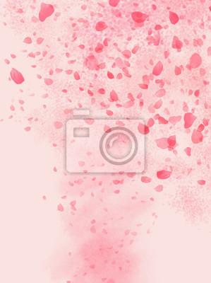 Nálepka Pink colored Rose leaves flowing in shaped of storm background illustration
