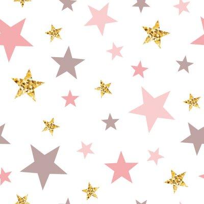Nálepka Pink seamless pattern gold glitter stars pink for Christmas backgound or baby shower sweet girl design