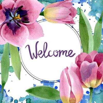 Nálepka Pink tulips floral botanical flowers. Watercolor background illustration set. Frame border ornament square.
