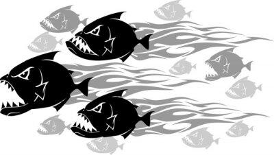 Nálepka Piranha Feeding Frenzy