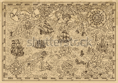 Nálepka Pirate Map with old sailing ships, fantasy creatures, treasure islands. Pirate adventures, treasure hunt and old transportation concept. Hand drawn vector illustration, vintage background