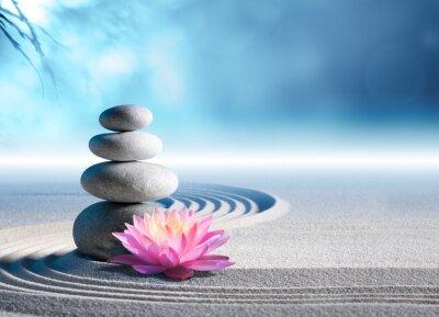 Nálepka písek, lilie a lázeňské kameny v zen zahradě
