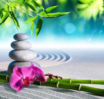 Nálepka písek, orchideje a masážní kameny v zen zahradě