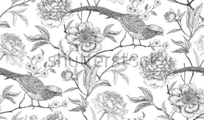 Nálepka Pivoňky a bažanty. Květinové exotické vinobraní bezešvé vzor s květinami a ptáky. Bílý a černý. Orientální styl. Vektorové ilustrace umění. Pro design textilu, balicí papír, tapety, interiér
