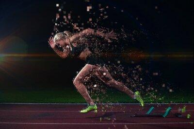 Nálepka pixelated návrh ženské sprinter opustit startovní bloky