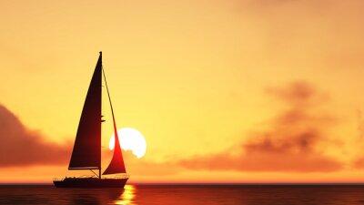 Nálepka plachetnice a západ slunce