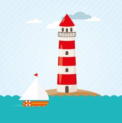 Nálepka Plachetnice auf Meer vor Leuchtturm Vektor