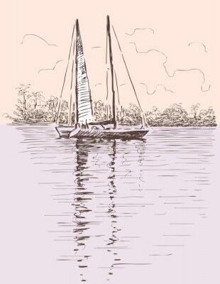 Nálepka plachetnice na břehu