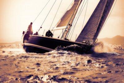 Nálepka plachetnice plachtění na západ slunce