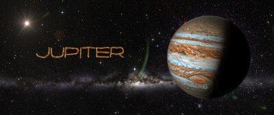 Nálepka Planeta Jupiter v outerspace.