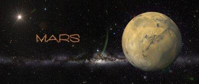 Nálepka Planeta Mars v kosmickém prostoru.