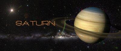 Nálepka Planeta Saturn ve vesmíru.