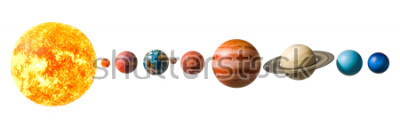 Nálepka Planets of the solar system, 3D rendering isolated on white background, Elements of this image furnished by NASA