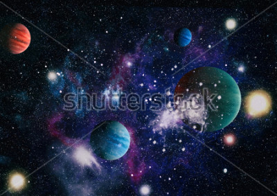 Nálepka planets, stars and galaxies in outer space showing the beauty of space exploration. Elements furnished by NASA