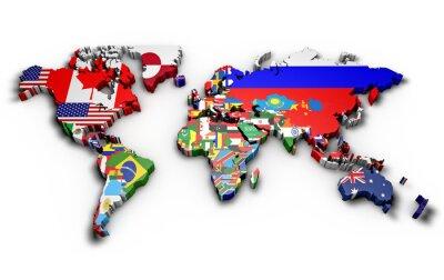 Nálepka Planisfero mondo 3d con bandiere v Rilievo