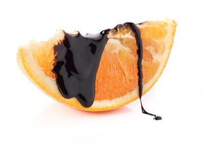 Nálepka plátky pomeranče s rozpuštěné čokolády závity