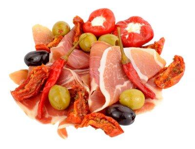 Nálepka Plátky Serrano šunka s olivami a papriky