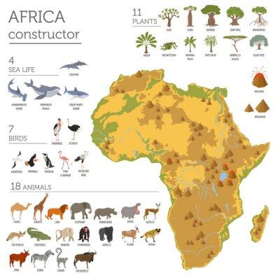 Nálepka Ploché Afrika flóry a fauny mapa konstruktoru prvky. Zvířata, b